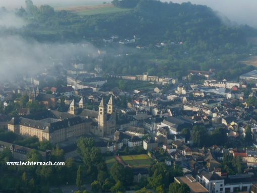 Echternach seen from a balloon